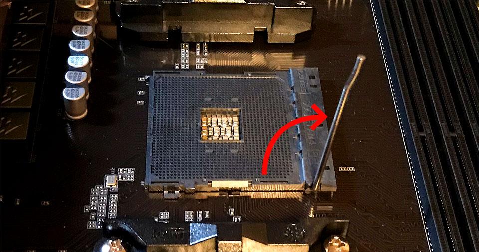 マザーボードCPU取り付け場所の解除