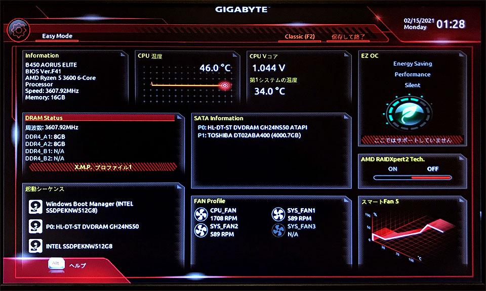 UEFI画面